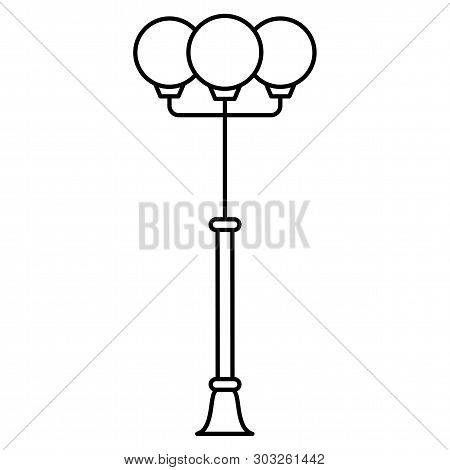 Black & White Vector Illustration Of Path Walkway Garden Lamp. Line Icon Of Outdoor Street Light. Is