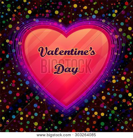 Valentine Holiday Illustration With Big Pink Heart, Love Symbol On Black Background With Confetti. E