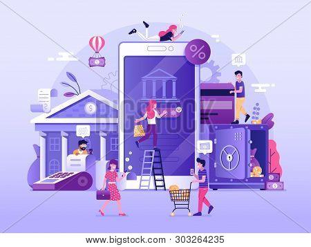 Mobile Banking And Finance Management Ui Illustration. Office People Characters Using Smartphone For