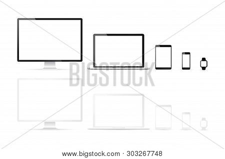 Electronic Devices, Web Design Vector Template With Laptop, Tablet, Smartphone, Computer. Flat Desig