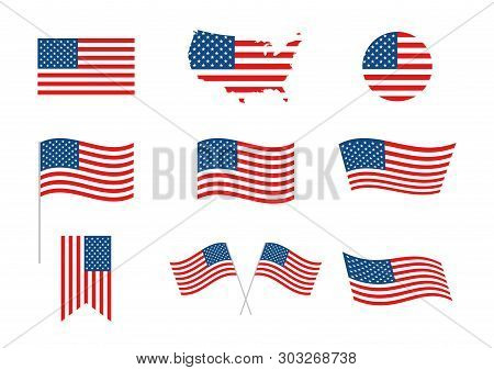 Usa Independence Day 4th Of July Holiday. United States Of America Flag. Independence Day Elements,