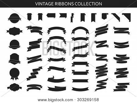 Vintage Ribbons Banners Collection. Flat Ribbon Illustration Isolated On White Background. Ribbons S
