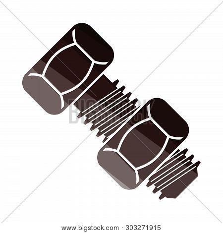 Icon Of Bolt And Nut. Flat Color Ladder Design. Vector Illustration.
