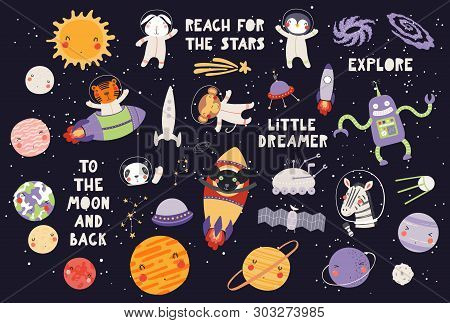 Big Set Of Cute Animal Astronauts In Space, With Planets, Stars, Spaceships, Quotes, On Dark Backgro