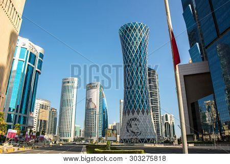 Doha, Qatar - December 14, 2018: Futuristic Urban Skyline Of Doha, Qatar. Doha Is A City On The Coas