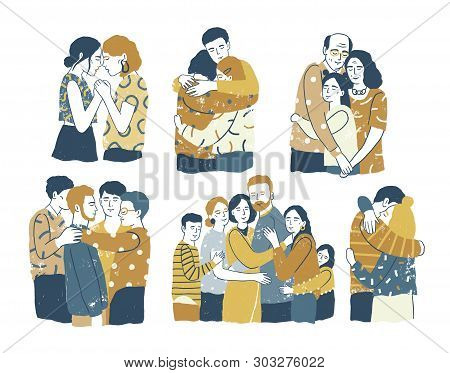 Collection Of Adorable Smiling People Standing Together And Hugging, Cuddling And Embracing Each Oth