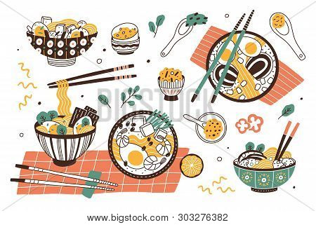 Collection Of Ramen In Bowls And Chopsticks. Set Of Traditional Tasty Asian Or Japanese Meal With No