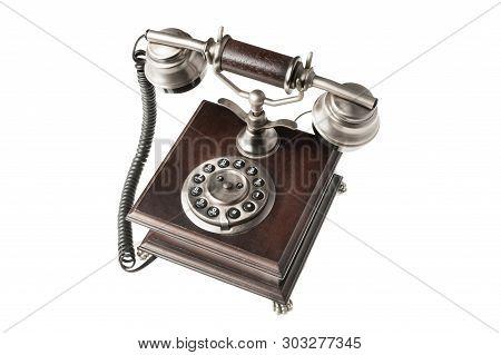 Old Style Desk Phone Isolated On White Background
