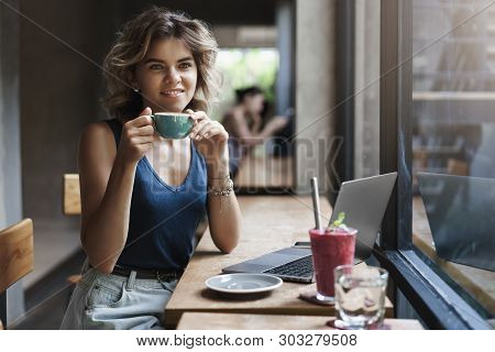 Charming Young Successful Female Freelance Smm Manager Sitting Coffee Table Look Dreamy Through Wind