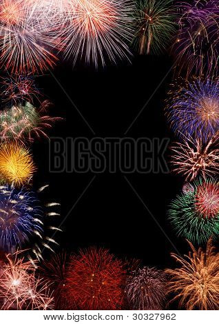 Colorful fireworks on black background collage, beautiful colorful fireworks frame space opening for greeting or invitation poster
