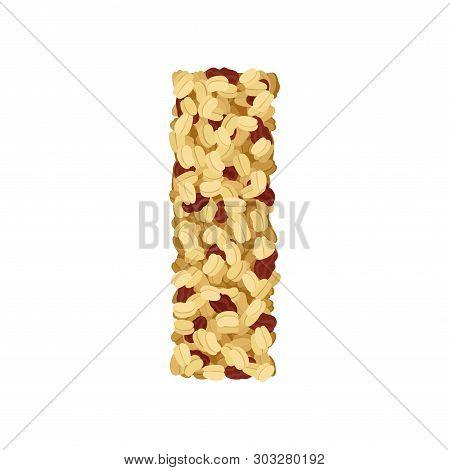 Crispy Muesli Raisins Close-up. Vector Illustration On White Background.