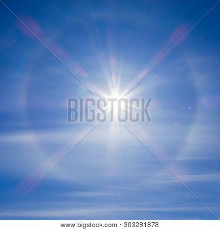 Fantastic Beautiful Sun Halo Phenomenon. Amazing Sun Halo Phenomenon. Square Image