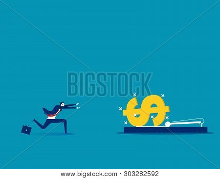 Businessman Running Into Mousetrap. Concept Business Vector Illustration.