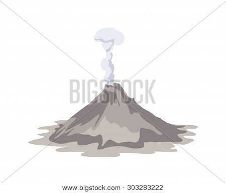 Active Volcano Erupting And Emitting Smoke Cloud From Crater Isolated On White Background. Spectacul