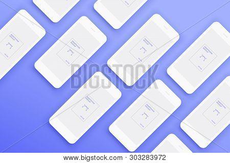 Background From Lot Of Mockups White Smartphones. Set Of Huge Number Phones On Blue Background. Prev