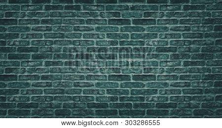 Teal Brick Wall Texture. Dark Stone Block Masonry. Old Rough Brickwork Vintage Background