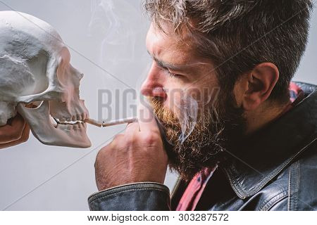 Harmful Habits. Smoking Is Harmful. Habit To Smoke Tobacco Bring Harm To Your Body. Smoking Cause He