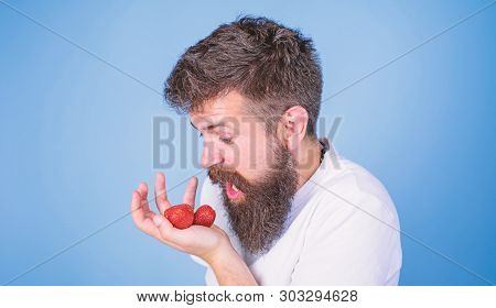 Man Shouting Hungry Greedy Face With Beard Eats Strawberries. Do Not Touch My Berry. Man Greedy Hung