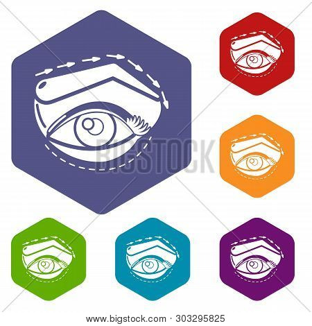 Eyelid Elevation Icons Vector Colorful Hexahedron Set Collection Isolated On White