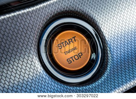 Start Stop Engine Button On A Modern Car Dashboard