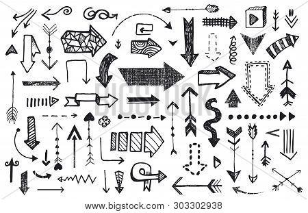Ve Tor Set Of Hand Drawn Arrows. Llustration Of Doodle Sketch Handmade Arrow
