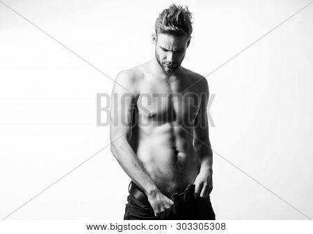 Sexual Performance. Seductive Macho Feeling Sexy. Attractive Sexy Body. Confident In His Attractiven