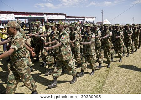 Ethiopian Army Soldiers Marching
