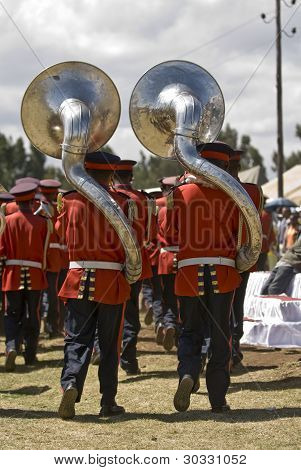 Uphonium Players Of The Marching Band Leave The World Aids Day Event In Fitche