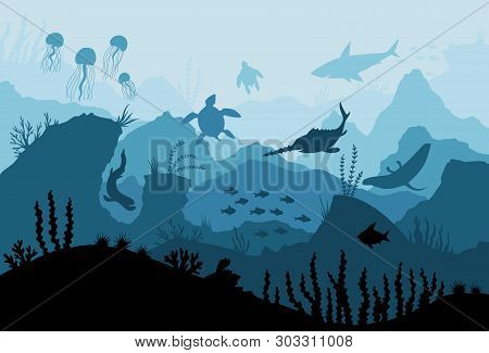 Underwater Ocean Fauna. Deep Sea Plants, Fishes And Animals. Marine Seaweed, Fish Under Water And An