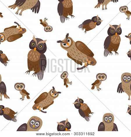A Owl Forest Seamless Pattern. Woodland Animals.
