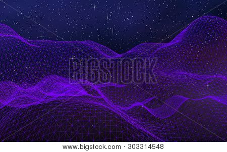 Abstract Ultraviolet Landscape On A Dark Background. Purple Cyberspace Grid. Hi Tech Network. Outer
