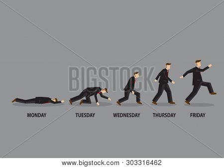 Enthusiasm Level Of A White Collar Worker Cartoon Character From Monday To Friday. Vector Illustrati