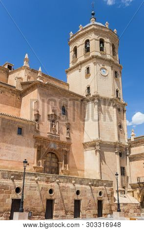 Lorca, Spain - May 09, 2019: Tower Of The San Patricio Collegiate Church In Lorca, Spain