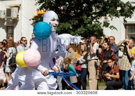 Voronezh, Russia: June 12, 2016. Parade Of Street Theaters On A Fine Sunny Day. Fun, Joy