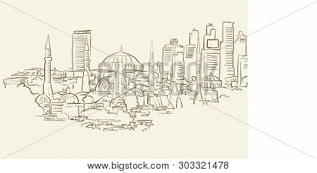 Istanbul Panorama Drawing, Brown Colored Version For Apps, Print Or Web Backgrounds