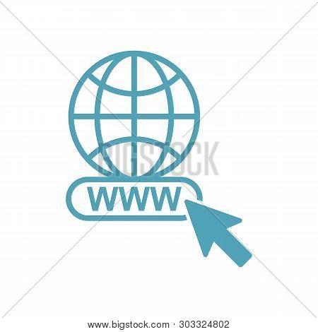 World Globe Icon Isolated On White Background. Www Icon. Www Search Bar Icon. Website Icon. World Gl