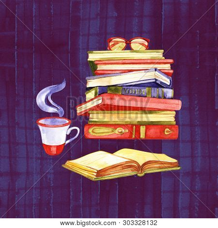 Watercolor Vintage Books Illustration. Greating Card In Retro Style