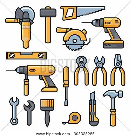 Building And Repair Tools Icons, Construction Tools Kit - Drill, Hammer, Screwdriver, Saw, File, Put