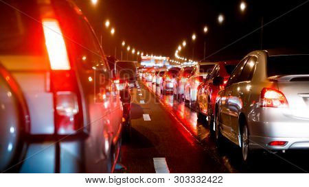 Transportation Vehicle And Traffic Jam Concept - Motion Scene And Blurred On Driving With Traffic Ja