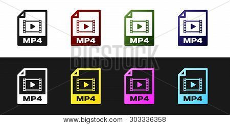 Set Mp4 File Document Icon. Download Mp4 Button Icon Isolated On Black And White Background. Mp4 Fil