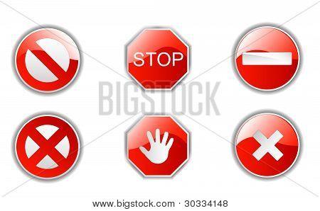 red deny signals vector set