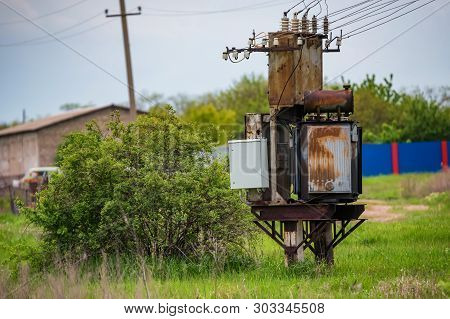 Old Rusty Electrical Control Unit Outside In Coutryside