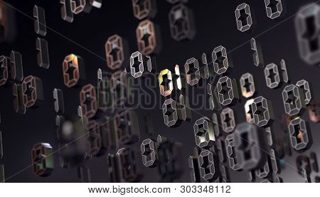 Binary Code And Machine Data In Screen.technology And Computing.abstract 3d Background,binary Langua