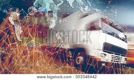 Abstract Background Trucks,lorry And Freight For Transport Concept.highway And Delivering.abstract D