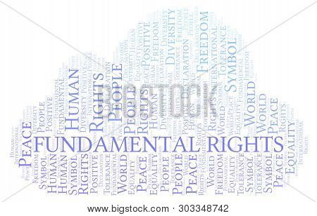 Fundamental Rights Word Cloud. Wordcloud Made With Text Only.