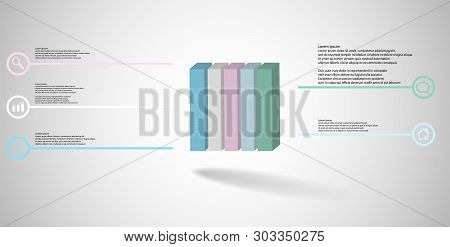 3D Illustration Infographic Template With Embossed Cube Vertically Divided To Five Parts
