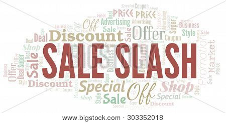 Sale Slash Word Cloud. Wordcloud Made With Text.