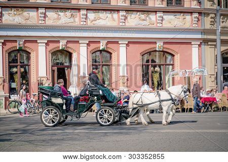 Erfurt, Germany. April 7, 2019. Horse-driven Carriage In The City Center