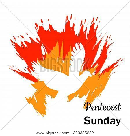 Pentecost Sunday Banner Design, Invitation The Christian Service Of Pentecost With Holy Spirit And T