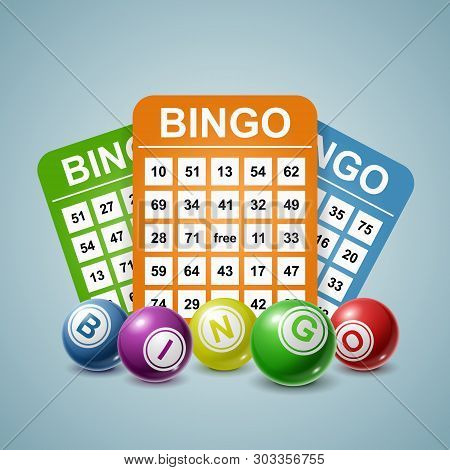 Bingo Ball And Tickets Background. Vector Illustration